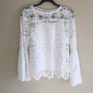 ADIVA White Long Bell Sleeve Lace Top W/Cami Sz M